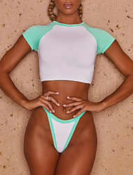 cheap -Women's Fashion Sexy Tankini Swimsuit Color Block Slim Padded Normal High Neck Swimwear Bathing Suits Blushing Pink Green / Bikini / 2 Piece