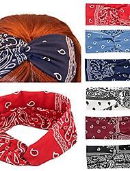 cheap -paisley print wide bandana knot headbands criss cross head wrap hair band 1 pack