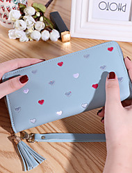 cheap -Women's Bags PU Leather Wallet Zipper Print Plain 2021 Daily Date Wine Black Blushing Pink Fuchsia