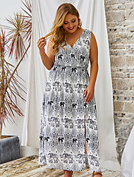 cheap -Plus Size Women's Swing Dress Maxi long Dress Sleeveless Floral Print Summer Casual vacation dresses Cotton Blend Loose cm to inches Big and tall