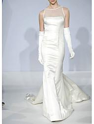 cheap -Mermaid / Trumpet Wedding Dresses Jewel Neck Court Train Satin Tulle Sleeveless Romantic with Beading 2021