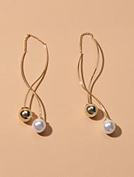 cheap -Women's Drop Earrings Geometrical Fashion Imitation Pearl Earrings Jewelry Gold For Date Festival