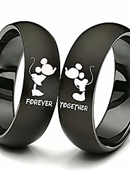 cheap -2pc matching set his and hers couple titanium steel rings kiss forever together promise wedding band black women size 5