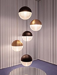cheap -20/30 cm Single Design Pendant Light Nordic Globe Black Gold Bedside Lamp Dining Room Restaurant Bar Metal 110-120V 220-240V