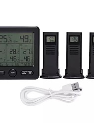 cheap -Wireless indoor outdoor thermometer for weather station TS-6210 digital weather thermometer with clock calendar and humidity