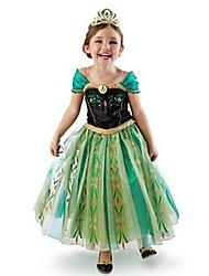 cheap -Kids Little Girls' Dress Patchwork Mesh Patchwork Print Green Midi Sleeveless Cute Dresses Regular Fit