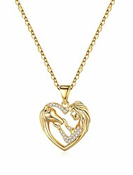 cheap -horse gifts for girls women, 14k gold plated horse necklace jewelry for teen girls horse lover gifts horse heart pendant necklaces children kids little girls horse gifts