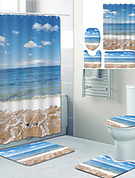 cheap -Blue sky and white Clouds beach Printed bathtub curtain liner covered with waterproof fabric shower curtain for bathroom home decoration with hook floor mat and four-piece toilet mat