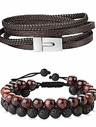 cheap -2 pcs genuine leather bracelet for men women two rows of 8mm black natural tiger eye lava rock hematite stone bracelets beaded cuff wrap bangle bracelet adjustable