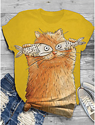 cheap -Women's Plus Size Tops T shirt Shirt Print Animal Large Size Round Neck Short Sleeve Big Size