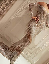 cheap -Women's Sheath Dress Maxi long Dress - Long Sleeve Color Block Sequins Mesh Spring Fall Elegant Formal Party 2020 Beige S M L XL XXL