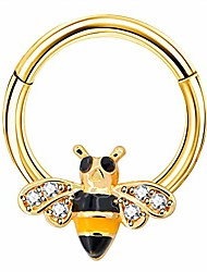 cheap -hinged segment ring cute bee cartilage earring 16g nose ring septum clicker tragus daith helix piercing jewelry