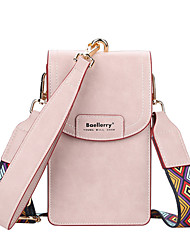 cheap -Women's Bags PU Leather Polyester Wallet Mobile Phone Bag Crossbody Bag Solid Color 2021 Daily Office & Career Black Blue Almond Blushing Pink