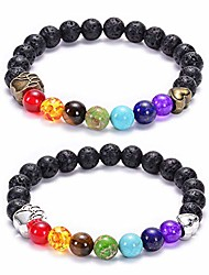 cheap -natural stone 7 chakra dog paw charm lava rock mala beads elastic bracelet yoga meditation healing bangle (bronze & silver dog paw)