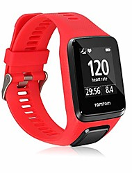 cheap -silicone watch strap compatible with tomtom adventurer/runner 3/spark 3/golfer 2 - fitness tracker band with clasp - red