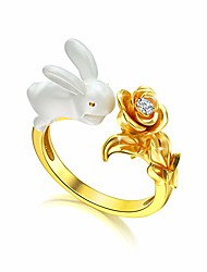 cheap -bunny ring sterling silver cute white rabbit with flower gold-plated finger open adjustable ring, birthday animal jewelry gifts for women girls daughter