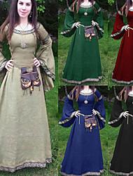 cheap -women's medieval dress cosplay costume renaissance victorian long sleeve asymmetric hem fancy maxi dress (blue, xxl)