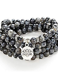 cheap -108 bead mala bracelet with lotus charm and 6mm small stone beads (black labradorite)