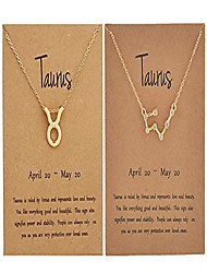 cheap -2pcs zodiac sign necklace for women 12 constellation necklace cz astrology zodiac gift for women (taurus)