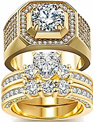 cheap -2 rings his and hers couple rings bridal sets yellow gold filled heart cz womens wedding ring sets man wedding bands