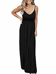 cheap -women causal long dress,ladies sexy solid sleeveless maxi dress for beach party holiday black