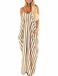 cheap -ulanda-eu women summer striped dresses ladies strappy boho sundress dress beach holiday party long maxi dress yellow