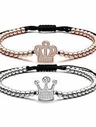 cheap -heart bracelet for women love charm cz clear stretch adjustable copper beads braided bracelet