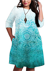 cheap -Women's A-Line Dress Knee Length Dress Half Sleeve Print Color Gradient Pocket Patchwork Print Fall Spring Plus Size Casual 2021 Light Blue XXL 3XL 4XL 5XL 6XL
