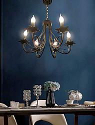 cheap -6-Light 51 cm Candle Style Chandelier Metal Black Chic & Modern 110-120V 220-240V