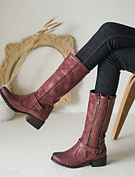 cheap -Women's Boots Chunky Heel Round Toe Mid Calf Boots Casual Vintage Daily Office & Career PU Buckle Solid Colored Almond Burgundy Green / Mid-Calf Boots