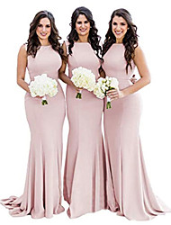 cheap -Mermaid / Trumpet Jewel Neck Court Train Jersey Bridesmaid Dress with
