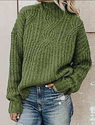 cheap -Women's Pullover Sweater Knitted Solid Color Vintage Style Casual Long Sleeve Loose Sweater Cardigans Turtleneck Fall Winter Blue Blushing Pink Army Green / Holiday