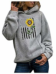 cheap -women fashion sunflower graphic hooded pullover sweaters casual comfy long sleeve hoodies shirts tops sweatshirts gray