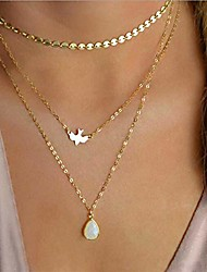 cheap -bohemia layered choker necklace gold disc choker dove necklace gemstone necklace pigeon gem charm pendant necklace peace jewelry for women and girls