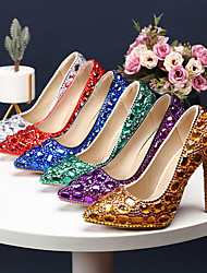 cheap -Women's Heels Stiletto Heel Pointed Toe Business Sexy Minimalism Wedding Party & Evening PU Rhinestone Crystal Sparkling Glitter Solid Colored Color Block Black Purple Red