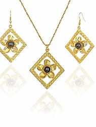 cheap -hawaiian jewelry for women 14k gold plated hawaii plumeria pendant earring necklace set wrapped with linen bag