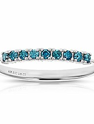 cheap -1/5 cttw blue diamond ring wedding band .925 sterling silver bridal 9 stones size 9