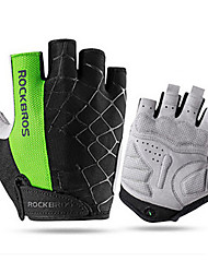cheap -ROCKBROS Bike Gloves / Cycling Gloves Mountain Bike MTB Breathable Anti-Slip Sweat-wicking Protective Boys' Girls' Fingerless Gloves Half Finger Sports Gloves Lycra Green for Kid's Outdoor