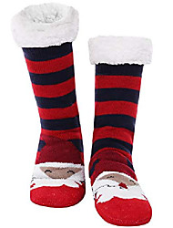 cheap -1 pair of ladies christmas socks cuddly socks warm winter socks cute cartoon pattern slipper socks anti slip studded socks