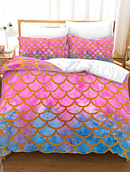 cheap -Pink Blue Scale Print 3-Piece Duvet Cover Set Hotel Bedding Sets Comforter Cover with Soft Lightweight Microfiber(Include 1 Duvet Cover and 1or 2 Pillowcases)