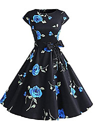 cheap -50s retro audrey hepburn style formal dress cotton round collar sleeveless swing skirt xx-large color 1