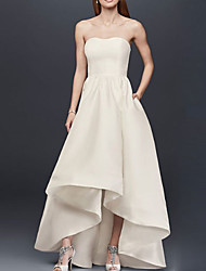 cheap -A-Line Strapless Asymmetrical Satin Bridesmaid Dress with Pleats / Open Back