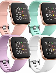 cheap -4 Pcs Watch Band silicone sport replacement strap compatible with fitbit versa strap/fitbit versa lite strap/fitbit versa 2 strap, women men large pink/auqa/lavender/white