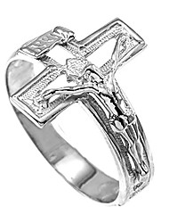 cheap -solid 925 sterling silver open design cross band crucifix ring (size 11)