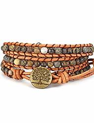 cheap -handmade wrap bracelet natural yellow flower picture jasper beaded 3 (triple) boho leather woven bracelets adjustable jewelry for women men