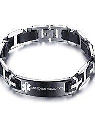 cheap -dnr medical alert id stainless steel medical alert id silicone chain link bracelets,8.7""