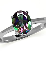 cheap -1.57ct. mystic fire topaz 925 sterling silver solitaire ring size 6