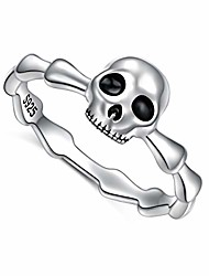 cheap -925 sterling silver gothic skull vintage antique style biker cocktail party ring skull rings death rock and roll for halloween, size 7
