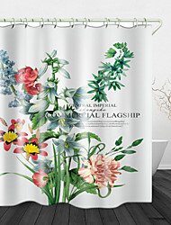 cheap -Beautiful Flowers On White Print Waterproof Fabric Shower Curtain For Bathroom Home Decor Covered Bathtub Curtains Liner Includes With Hooks