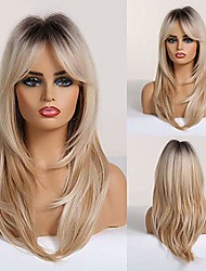 cheap -long curly blonde women's wigs shoulder-length synthetic wigs for women with bangs black root light-blonde hair wigs for white women